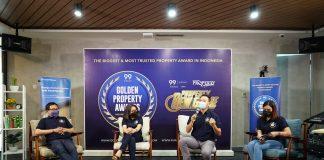 Ali Tranghanda CEO Indonesia Property Watch, Maria Herawati Manik Country Manager Rumah123.com, dan CEO 99 Group Indonesia Chong Ming Hwee, dalam acara Press Conference Golden Property Awards 2021 di Jakarta, Selasa (8/6/2021)./ Foto: dok. 99 Group